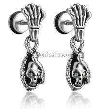 2pcs Silver Stainless Steel Skeleton Hand Snake Skull Stud Drop Dangle Earrings