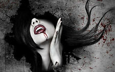 Framed Print - Vampire Woman with Blood on Her Face (Gothic Horror Picture Art)