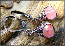 *PI*RARE faceted CHERRY QUARTZ Wrapped Oxidized COPPER Earrings! SUNDANCE