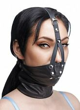 Leather NECK CORSET HARNESS STUFFER MOUTH GAG slave costume face cover mask