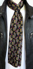 SUPERNOVA SCARVES Black Paisley Silk Ex Long Mod Scarf Scooter Indie Rare