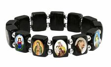 Small Black Wood Bracelet & Silver Color Beads and Assorted Catholic Images
