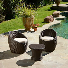 Outdoor Patio Furniture 3pc Brown Wicker Seating Set