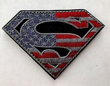 SUPERMAN AMERICAN FLAG Military Airsoft Tactical Blue Red VELCRO® Morale Patch