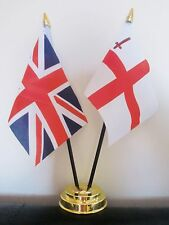 UNION JACK AND CITY OF LONDON TABLE FLAG SET 2 flags plus GOLDEN BASE