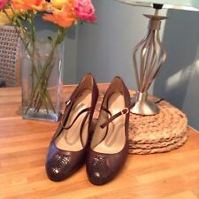 M&S Autograph Brown Leather Mary Jane Size 5 38