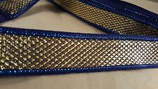 * magnifique cobalt et or tissé ruban bordure de fabriquer la conception d'une bordure 1M