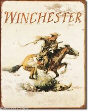 Winchester Cowboy Logo TIN SIGN western horse rustic metal wall home decor 1421