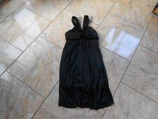 EB055 Voyelles Sommer Abend Samt Kleid M Schwarz Ohne Muster Sehr gut