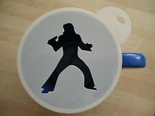 Laser cut singing elvis design coffee and craft stencil