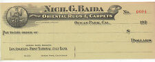 1920s Bank Check from Nich. G. Baida Oriental Rugs & Carpets Ocean Park CA