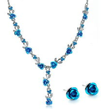Silver Plated Blue Rose Necklace, Earrings Bridal Prom Jewelry Set