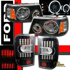 2001-2011 Ford Ranger Dual CCFL Halo Headlights & LED Tail Lights Black