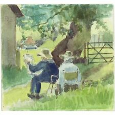 Original Vintage English Impressionist The Outdoor Studio Watercolour Painting