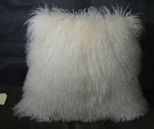 "Mongolian lamb Natural white 16 ""  Fur Pillow made in usa Tibet cushion 16x16"