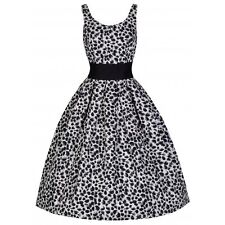 NEW VINTAGE 50'S STYLE ROCKABILLY LANA BLACK AND WHITE PARTY SWING DRESS SIZE 10