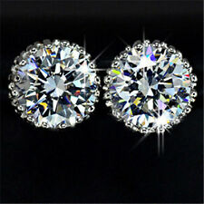 Hot One Pair 18K White Gold Swarovski Crystal Diamond Zircon Earrings Ear Stud W