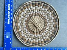 Old Vintage Hopi Wicker Plate Plaque Basket Tray Hand Made 11 1/2 Inch