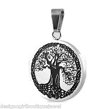 Tree of Life Necklace Symbol Stainless Steel Spiritual Inspirational Black