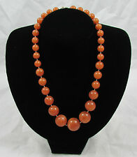 Vintage Chunky Amber Brown Plastic Bead Necklace