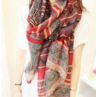 Lady Women's Fashion Long Big Soft Cotton Voile Scarf Shawl Wrap red