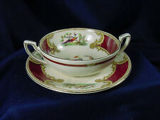 MYOTT CHINA CHELSEA BIRD RED CREAM SOUP  & SAUCER