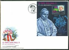 CENTRAL AFRICA  2013 ORCHIDS & POPE JOHN PAUL II  SOUVENIR SHEET FIRST DAY COVER