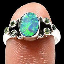 Australian Opal & Peridot 925 Sterling Silver Ring Jewelry SR214287