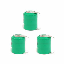 3 pcs 80mAh 3.6V Ni-MH Button Cell Rechargeable Battery w/ Tab Green