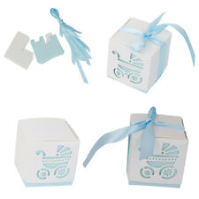 12pcs Laser Cut Pram Stroller Candy Gift Box Baby Shower Wedding Favor Blue
