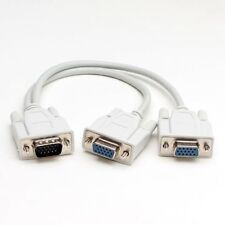 6 Inch 1 Male To 2 Dual Female PC VGA SVGA HD15 Monitor Y Splitter Adapter Cable