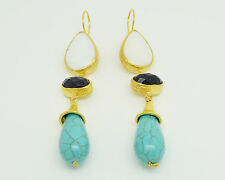 Ottoman semi precious gem stone gold plated earrings Pearl amethyst turquoise