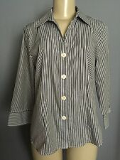 FOXCROFT 10 Shirt Black White Stripe No Iron Fitted Button Up Cotton Blouse