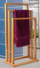 Bamboo 3Tier Bar Towel Rail Rack Holder Bathroom Organiser Storage Free Standing