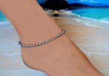 Peacock Pearl & .925 Sterling Silver Bead Ankle Bracelet 10 to 11 inches