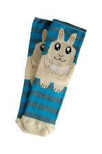 Ladies 1 Pair Bunny Rabbit socks stripe Novelty Ears/Paws Cute Blue/Grey Fun