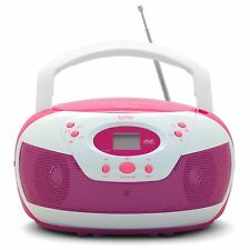 Tyler Portable Neon Pink Stereo CD Player with AM/FM Radio and Aux & Headphone