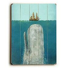 """The Whale by Artist Terry Fan 9"""" x 12"""" SOLID Wood Sign Vintage Art"""