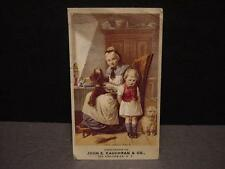Vintage Victorian TRADE CARD: KAUGHRAN'S Dry Goods-Nanny+Boy-Torn Pants-WESTIE?