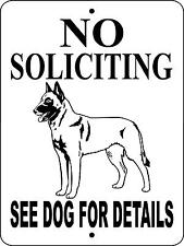 "BELGIAN MALINOIS Dog Sign,NO SOLICITING,9""x12"" ALUMINUM, Guard Dog sign,NSBM"