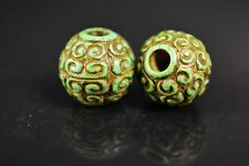 2 pcs  Chinese hongshan culture Turquoise carved Auspicious clouds lucky beads