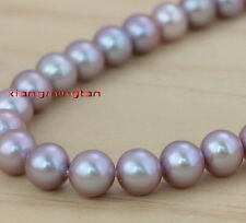 "AAAAA luster 17""9-10mm REAL NATURAL south sea PINK purples pearl necklace 14K"