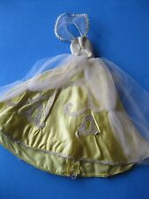 Vintage Barbie Doll YELLOW SATIN GOWN Cinderella Outfit #0873 Dress Clothes 60's