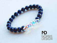 Men's Lapis Lazuli Double Skull Bracelet with Swarovski Crystal 7'' Elasticated