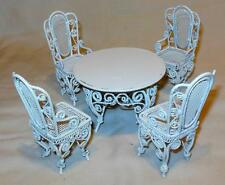 IRON WIRE DINING ROOM TABLE AND CHAIRS DOLLHOUSE FURNITURE MINIATURES