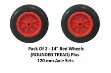 "2 PACK 14"" PU Wheelbarrow RED Solid Wheel Trolley ROUND Tyre 120mm AXLES"