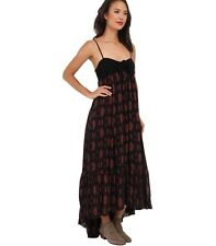Free People New Totally Tubular Maxi Dress in Black Combo NWT $128 Size S