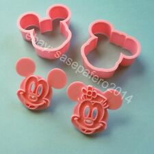 Mickey Mouse and Minnie Mouse cookie cutter with stamp 4 pcs set. Cortador Micky