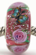 ROMANCE ROSES sterling silver core european charm bead lampwork murano glass MWR