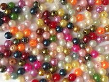 200 Multi Color Plástico Redondo Perlas de fabricación de joyas Artesanías 8mm AB0165